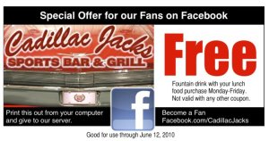 Cadillac Jacks Sports Bar and Restaurant Facebook coupon
