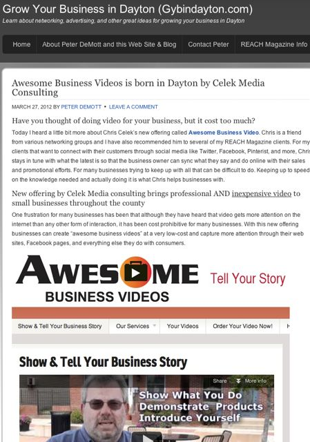 Screenshot of blog article about Celek Media Consulting and AwesomeBusinessVideos.com
