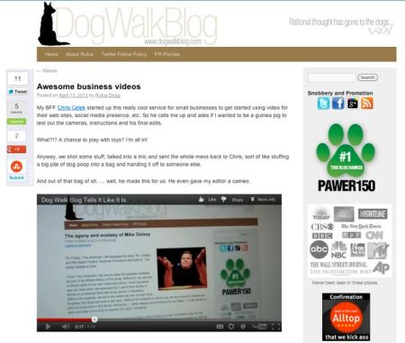 Screen shot of DogWalkBlog website.