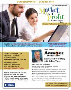 Chris Celek speaking Oct. 11 about video for your business at Market and Profit Lunch & Learn event.