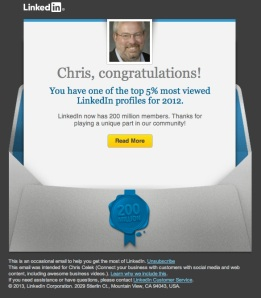 Chris Celek Linkedin profile